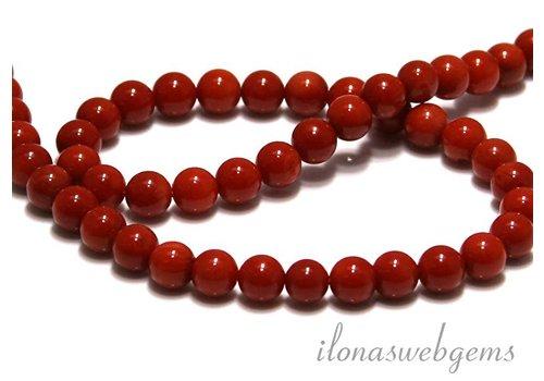 Coral Perlen rot 'alte holländische' rund um 6.5mm