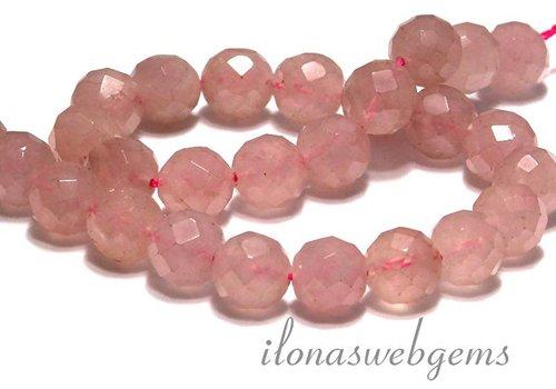 Rose quartz beads great facet round app. 12mm