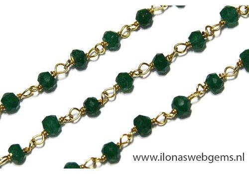 10cm Vermeil ketting met kraaltjes Smaragd