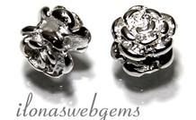 Sterling zilveren spacer roosje ca. 5x5mm