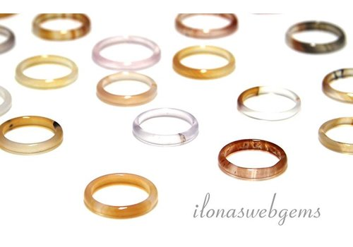 6 stuks Agaat ring mix