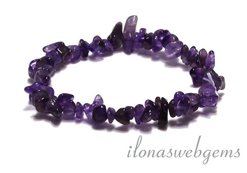 Amethyst split beaded bracelet around 7mm