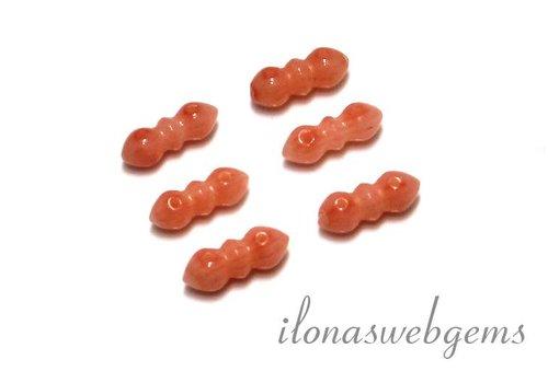 6 stücke Koralle Perlen/Verteiler 2 rij ca. 11x5x4.5mm