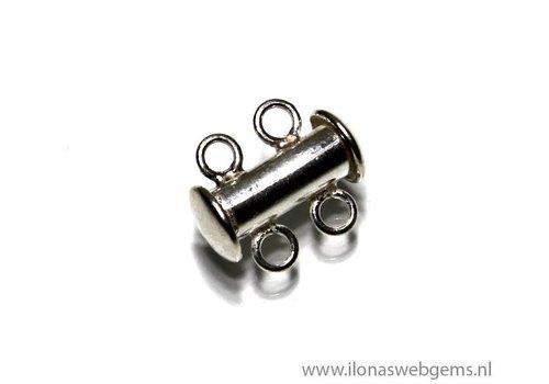 Sterling zilveren slotje 2 rij ca. 14x12mm