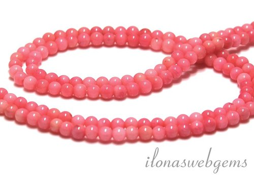 Pink Coral beads round 4mm