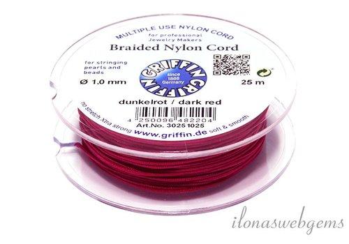 Griffin nylon koord donker rood 25m