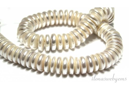 1 Shell pearl beads disc approx 15x5mm