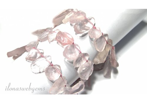 Rose quartz beads rough / side drill app. 13 tot 24mm
