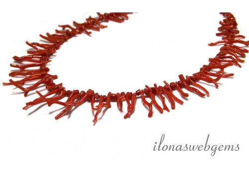 Bloedkoraal kralen sticks ''corallium rubrum'' ca. 3-29x2-3mm