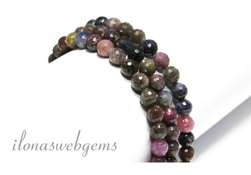 Ruby and Sapphire beads faceted 8mm round app.