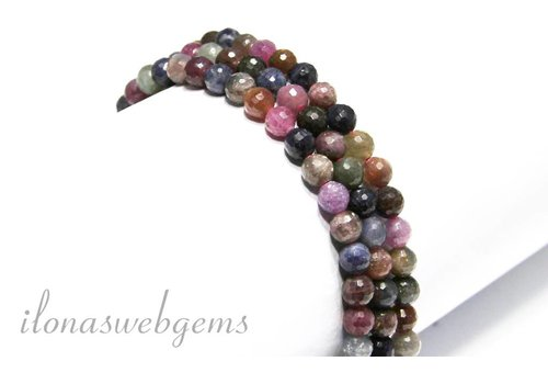 Rubin und Saphir Perlen facettiert ringsum 6mm
