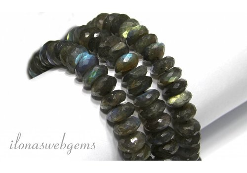 Labradorite beads faceted roundel app. 14x7mm