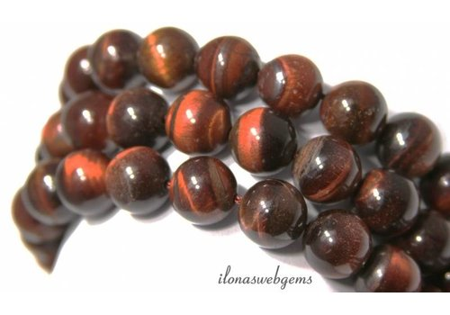 Tigereye Perlen rot rund ca. 12mm