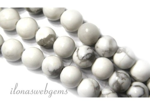 Howlite beads white round approx 10mm
