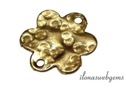 14k/20 Gold filled bedeltje bloem gehamerd ca. 13x12mm