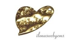 14k/20 Gold filled bedeltje hart gehamerd