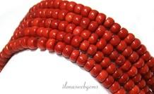 Rote Korallen-Perlen 'alte holländische' über 7x4mm