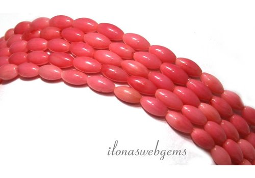 Pink coral beads around 6.5x3.5mm