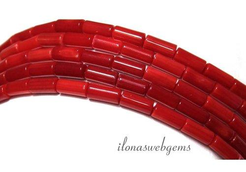 Koraal kralen rood ca. 7x3mm