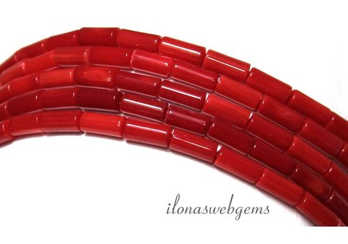 Red coral beads app. 7x3mm