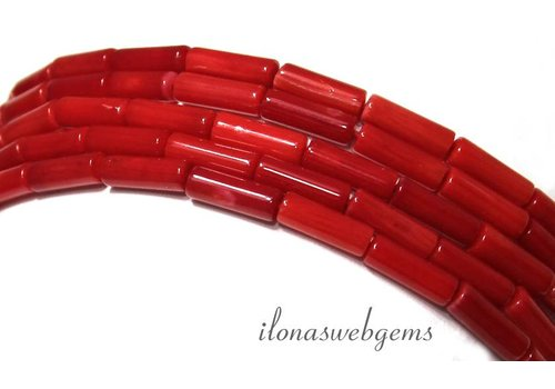 Red coral beads app. 9x3mm