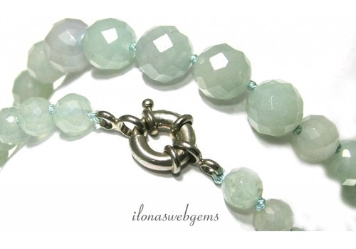 Blaue Quarz Perlenkette facettiert rund um 8-11mm