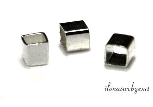 6 stuks Sterling zilveren spacer 'kubus' ca. 4x4mm