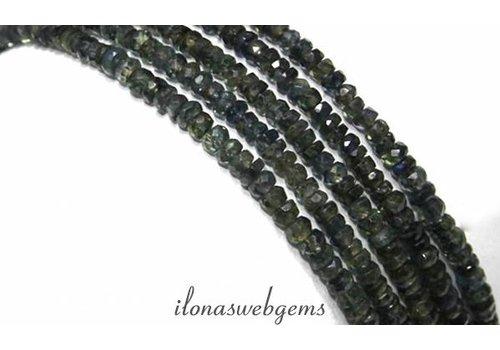 Saffier kralen facet rondel ca. 3x2mm