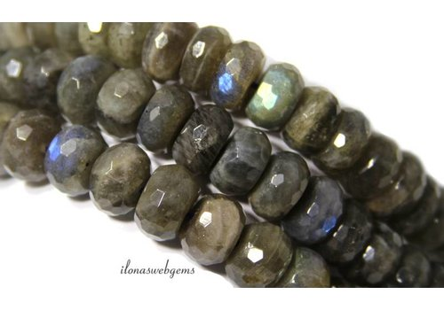 Labradorite beads faceted roundel 14x7mm ca.