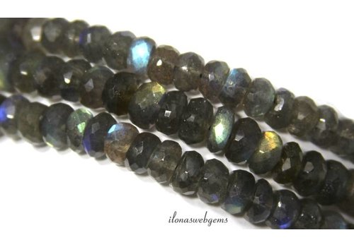 Labradorite beads roundel faceted approx 7x4mm