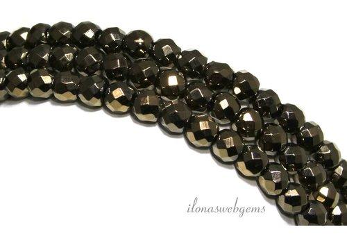 Hematiet kralen facet rond goud ca. 6mm