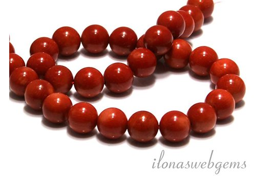 Coral beads red Old Dutch round app. 10mm