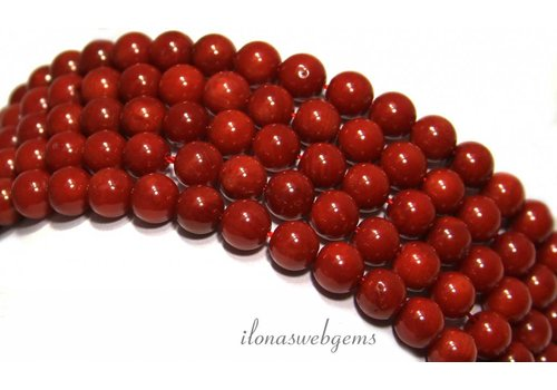 Coral beads red 'old Dutch' round about 6mm