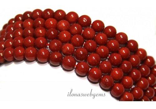 Koraal kralen rood 'oud Hollands' rond ca. 6mm