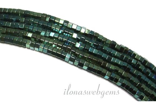 285 pieces Hematite beads mini blue-green approx 1.4mm