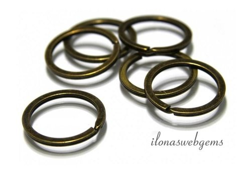 10 pieces splitring old brass app. 28x2mm