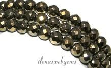 Hämatit Perlen 8mm rundes Gold ca. facettiert