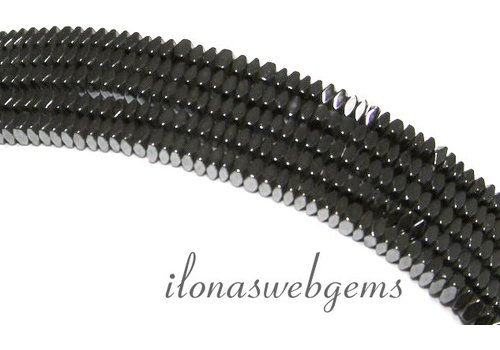Hematite beads square facet flat approx 2x1mm