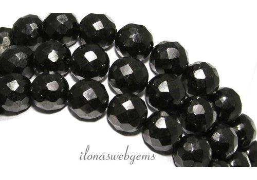 Black gitten beads facet around 12mm
