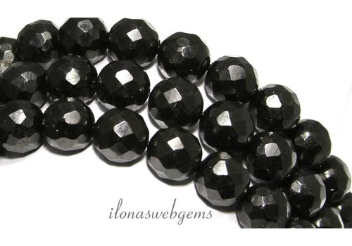 Black jet beads faceted round approx 12mm