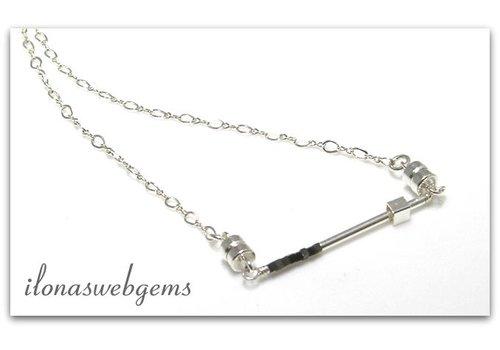 Inspiratie ketting: Minimalistisch, sterling zilver, Hematiet