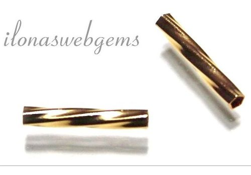 Gold filled tube bead twist around 13x2mm
