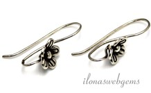 1 Paar Sterling Silber Ohrhaken mit Hill Stamm Blume