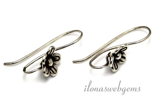 1 pair Sterling silver earring hooks with Hill tribe flower