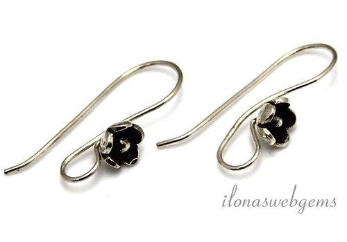 1 Paar Sterling Silber Ohrhaken mit Hill Stamm Blume - Copy