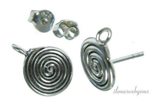 1 paar Sterling zilveren Hill tribe oorstekers