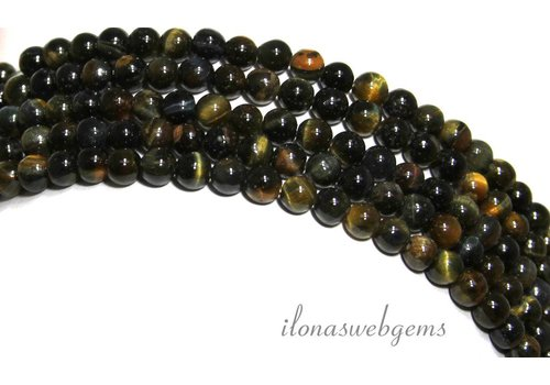Tiger eye beads blue-yellow around approximately 4.5mm