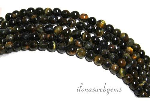 Tigerauge Perlen blau-gelb um etwa 4,5 mm