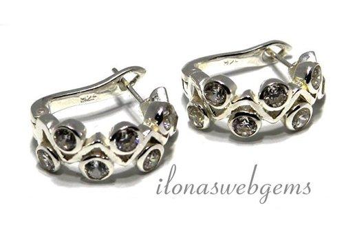 1 paar Sterling zilveren oorbellen 'creool' met Cubic zirconia