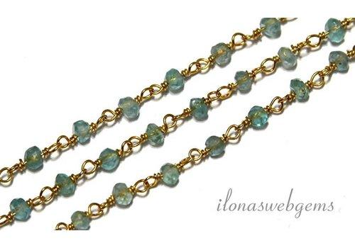 Apatiet 10cm Vermeil Halskette mit Perlen Apatit